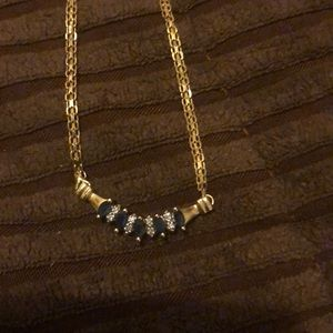 Jewelry - Sapphire and Diamond 14K Gold Necklace.